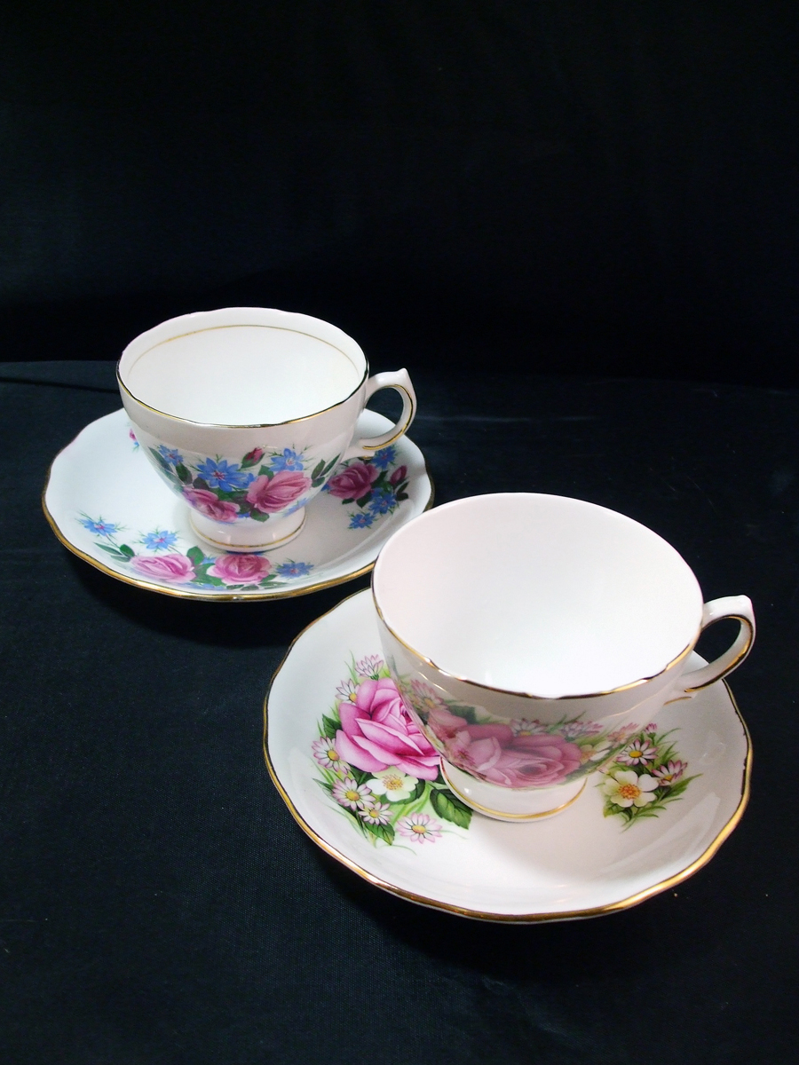 1950's Royal Vale Tea Cups and Saucers, Rose Patterns