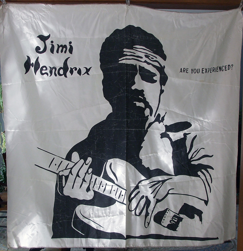 1970's Jimi Hendrix Wall Hanging - Silk Screen 45 x 45 Inches