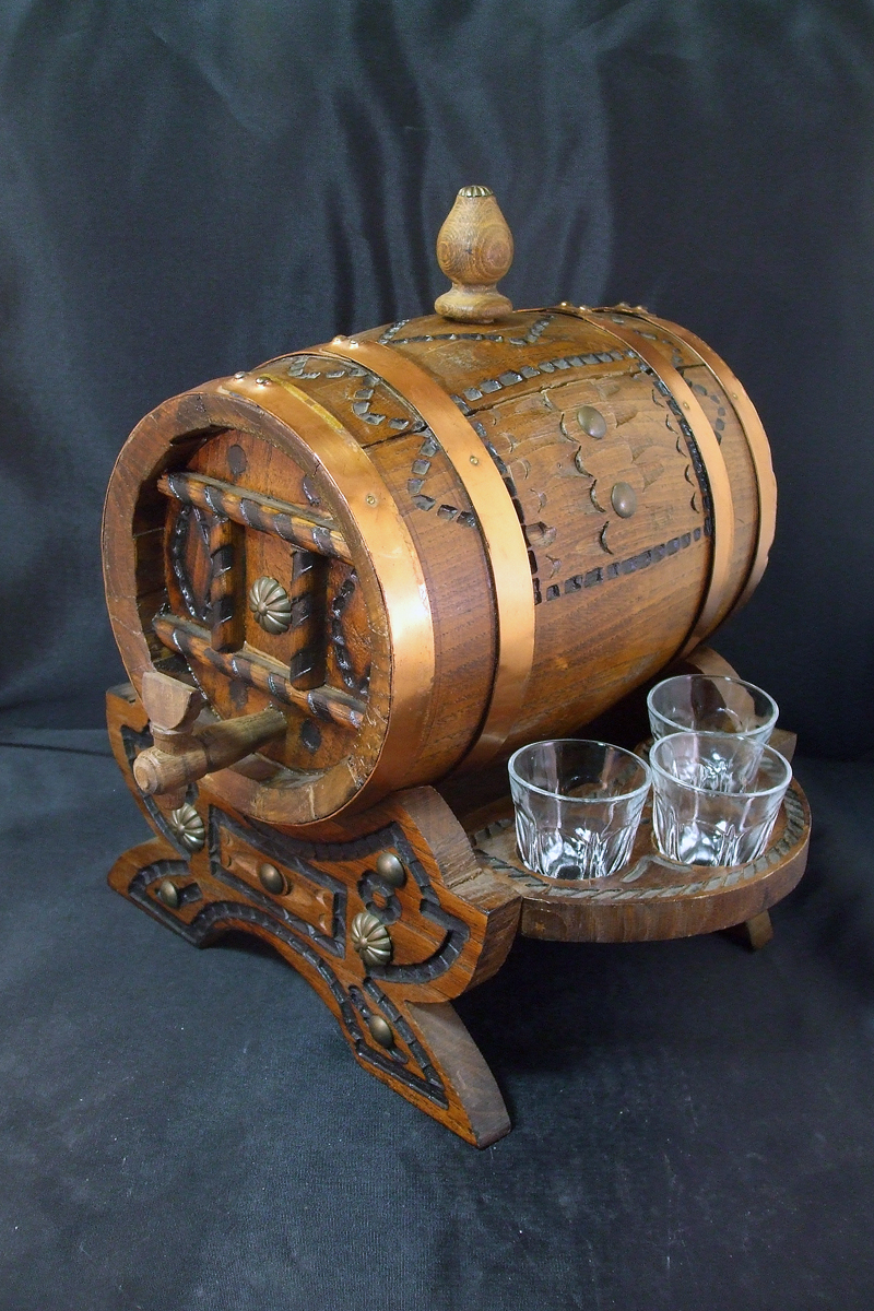 Vintage Carved Spanish Oak Wine Barrel or Cask Spirit Server