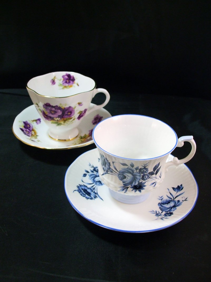 Vintage Windsor and Royal Crest Bone China Tea Cups and Saucers - Purple pansies and Blue Roses