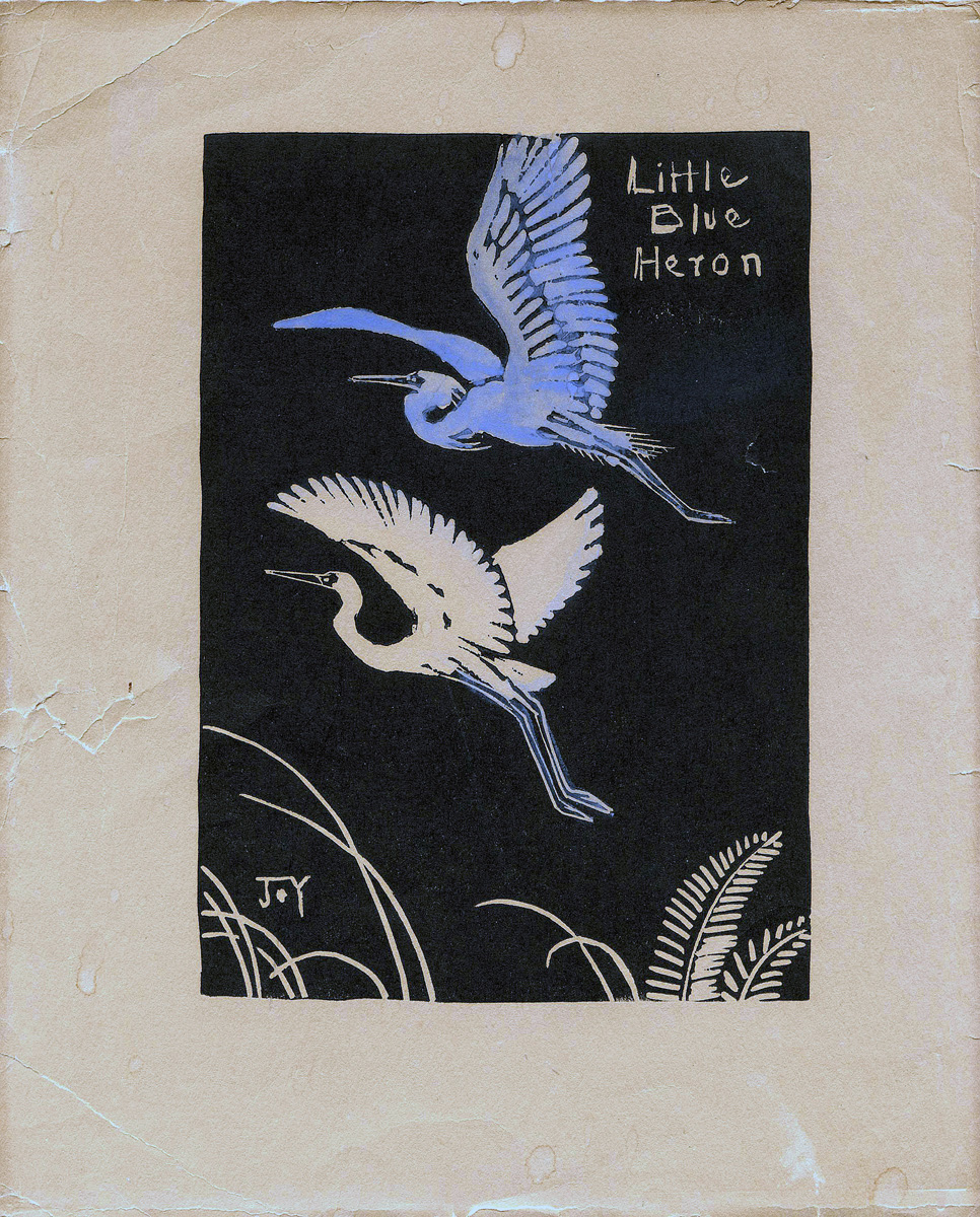 Joy Postle Framed Original Block Print:  Little Blue Heron, Circa 1940