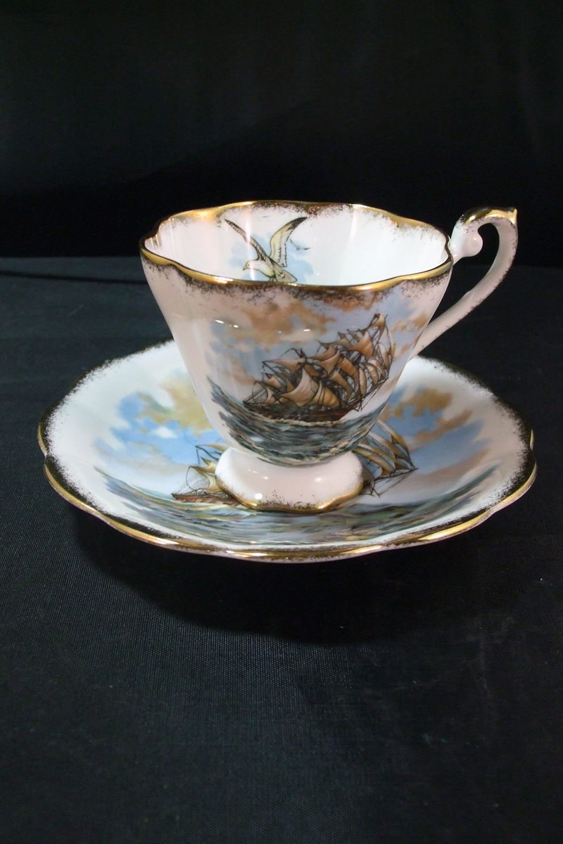 Royal Standard Bone China Cup and Saucer, Clipper Ship and Sea Gull