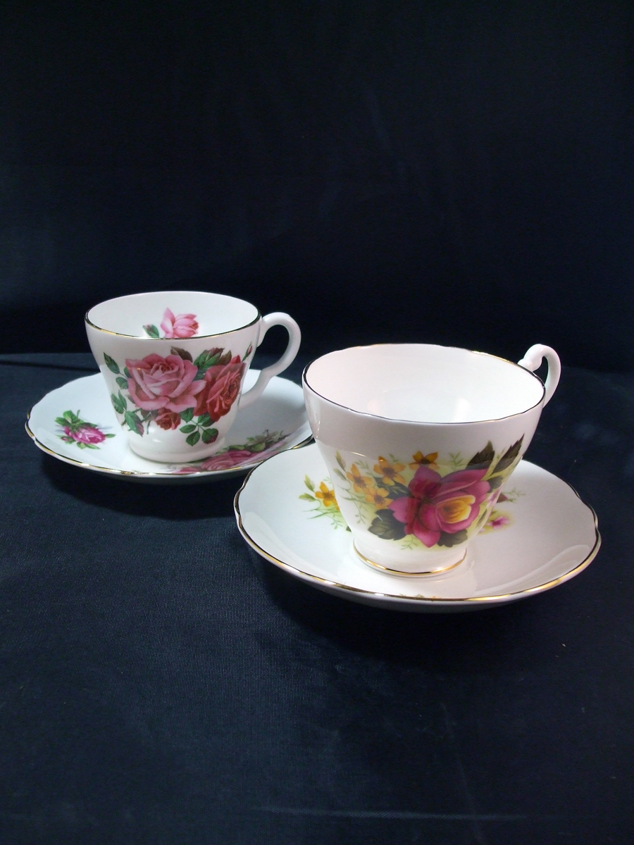 1950's Stanley, Royal Ascot Bone China Tea Cups and Saucers - Roses