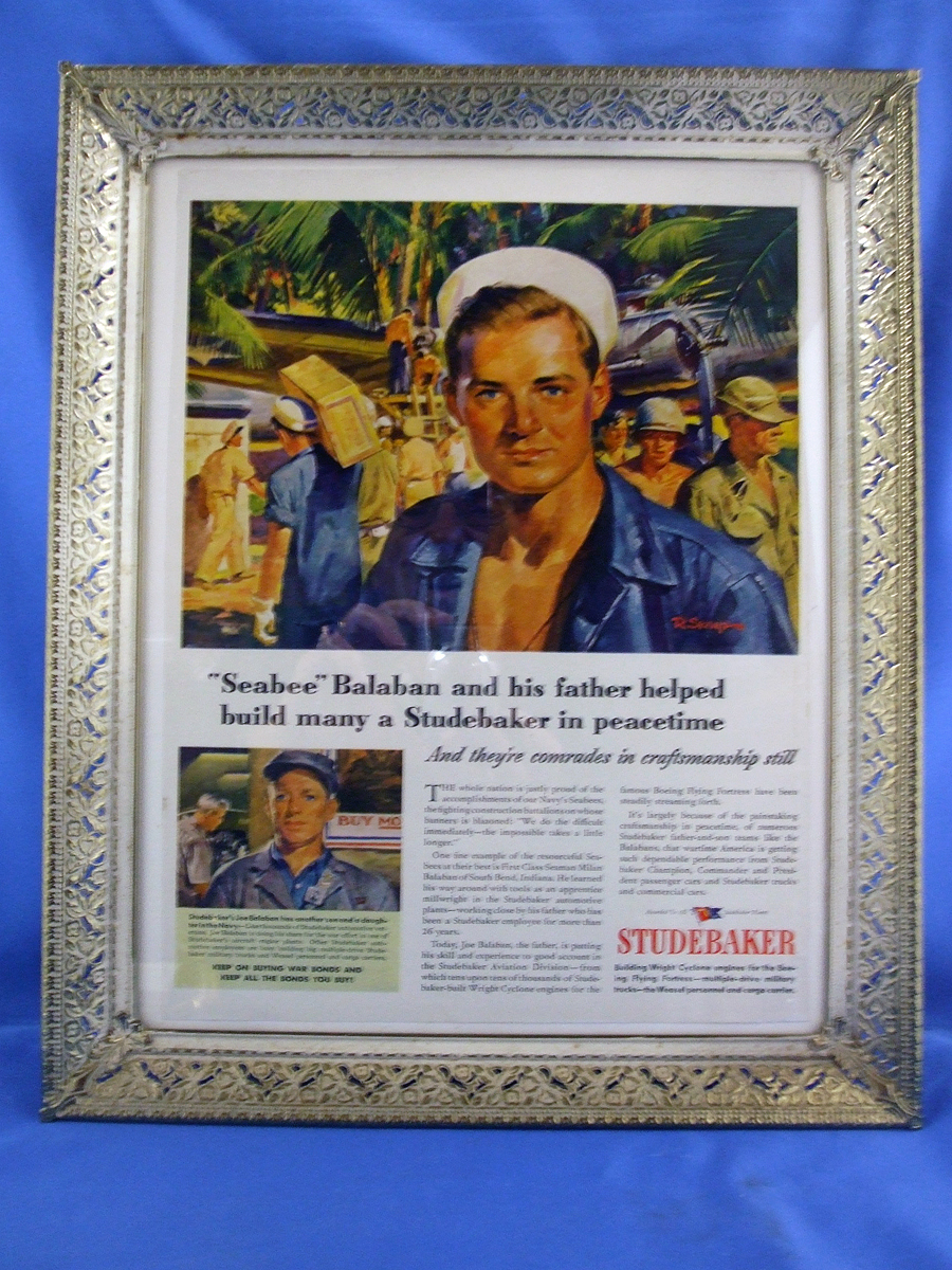 1945 WW II Framed Studebaker Original Ad, Seabees, War Bonds